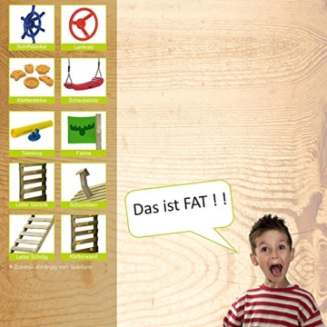 FATMOOSE DonkeyDome Double XXL Spielturm Stelzenhaus Kletterturm Baumhaus mit Schaukel und Rutsche - 8