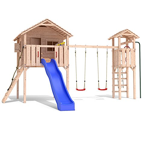 FRIDOLINO Spielturm Baumhaus Stelzenhaus Schaukel Kletterturm Rutsche Holz (Turmanbau) - 1