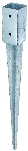 GAH-Alberts 211271 Einschlag-Bodenhülse für Vierkantholzpfosten, feuerverzinkt, 71 x 71 mm / 750 mm - 1