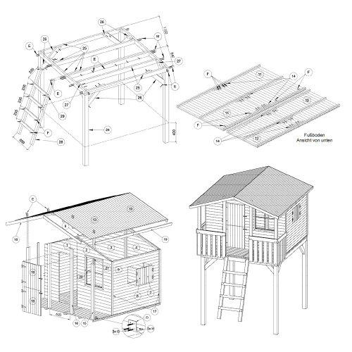 Gartenpirat Stelzenhaus Spielhaus Tom aus Holz mit Veranda - 2