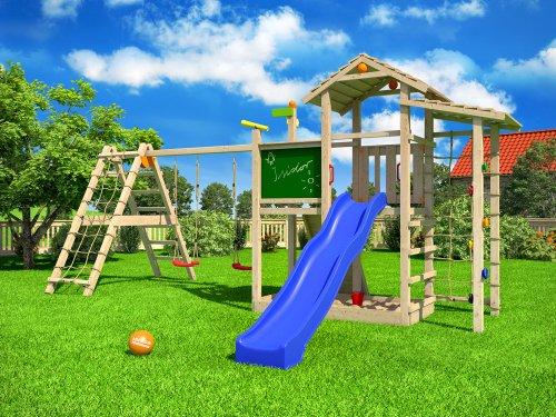 ISIDOR Bazzy Boo Spielturm Kletterturm Rutsche Schaukel Maltafel XL- Kletternetz (erweiterter Schaukelanbau inkl 2 Schaukeln) - 2