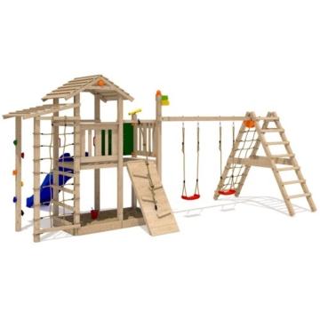 ISIDOR Bazzy Boo Spielturm Kletterturm Rutsche Schaukel Maltafel XL- Kletternetz (erweiterter Schaukelanbau inkl 2 Schaukeln) - 1