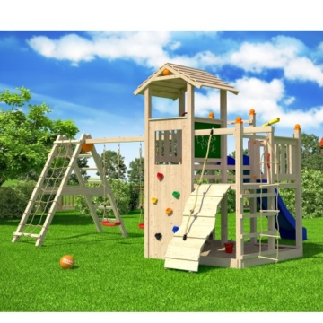 ISIDOR Fluppy Flu Spielturm Kletterturm großer Sandkasten Rutsche 2 Schaukeln (erweiterter Schaukelanbau inkl 2 Schaukeln) - 3