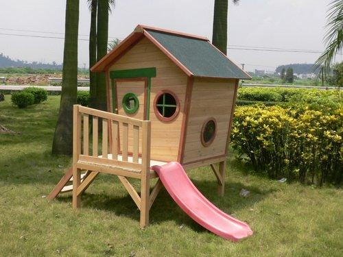Kinderspielhaus ROSI - Stelzenhaus aus Holz mit roter Rutsche - 2