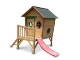 Kinderspielhaus ROSI - Stelzenhaus aus Holz mit roter Rutsche - 1