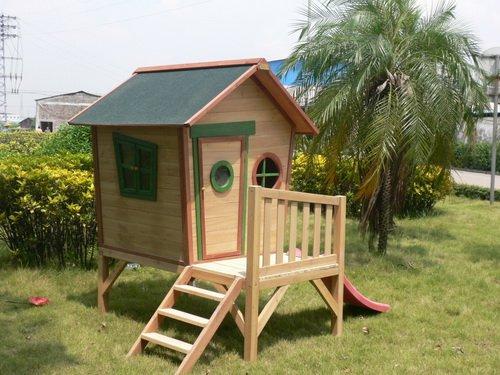 Kinderspielhaus ROSI - Stelzenhaus aus Holz mit roter Rutsche - 3