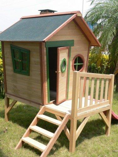 Kinderspielhaus ROSI - Stelzenhaus aus Holz mit roter Rutsche - 4