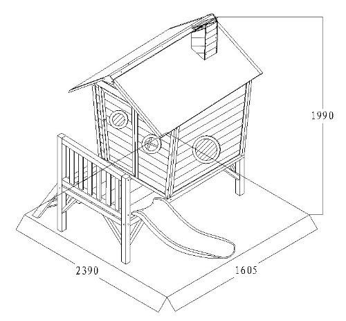 Kinderspielhaus ROSI - Stelzenhaus aus Holz mit roter Rutsche - 5
