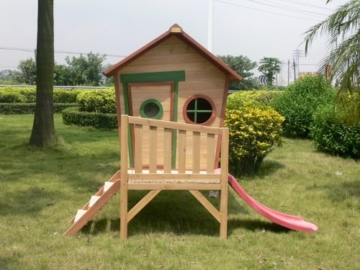 Kinderspielhaus ROSI - Stelzenhaus aus Holz mit roter Rutsche - 6