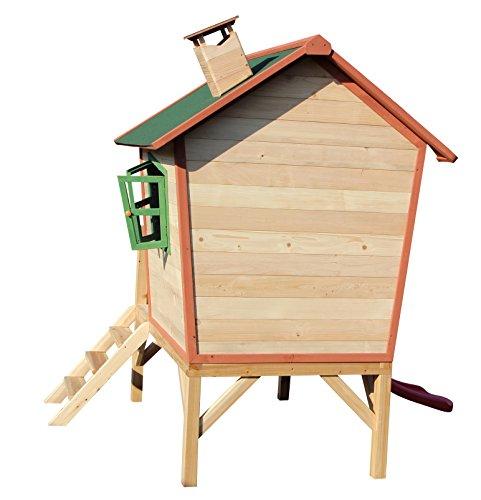Kinderspielhaus ROSI - Stelzenhaus aus Holz mit roter Rutsche - 7