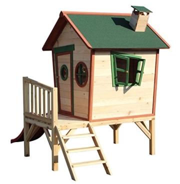 Kinderspielhaus ROSI - Stelzenhaus aus Holz mit roter Rutsche - 8
