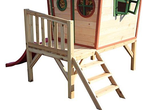 Kinderspielhaus ROSI - Stelzenhaus aus Holz mit roter Rutsche - 9