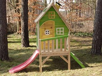 Kinderspielhaus Stelzenhaus aus Holz mit Rutsche - 2