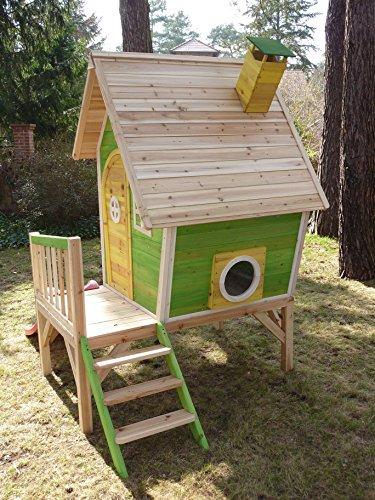 Kinderspielhaus Stelzenhaus aus Holz mit Rutsche - 3