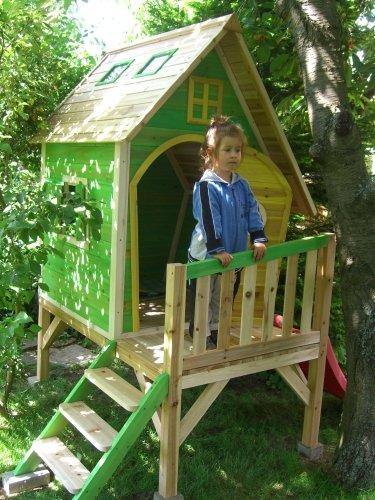 Kinderspielhaus Stelzenhaus aus Holz mit Rutsche - 4
