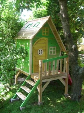 Kinderspielhaus Stelzenhaus aus Holz mit Rutsche - 5