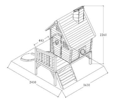 Kinderspielhaus Stelzenhaus aus Holz mit Rutsche - 8