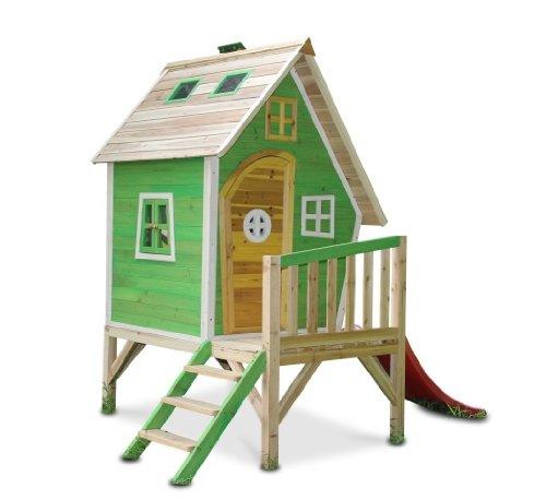 Kinderspielhaus Stelzenhaus aus Holz mit Rutsche - 1