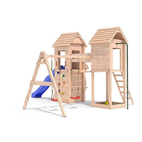 MIRADORI Spielturm Spielhaus Rutsche Schaukel Kletterturm 1,50m Podest (einfacher Schaukelanbau) - 1