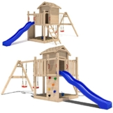 Stelzenhaus Spielturm Baumhaus Schaukel Holzspielhaus Kletterturm Rutsche - 1