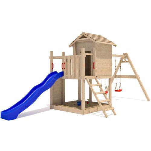 Stelzenhaus Spielturm Baumhaus Schaukel Holzspielhaus Kletterturm Rutsche - 3