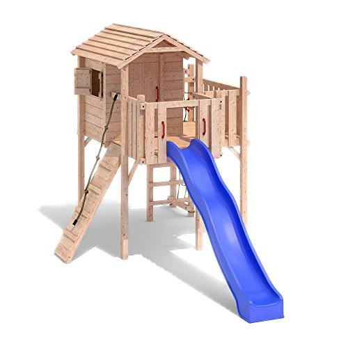 TERRIZIO Medi Spielturm Baumhaus Schaukel Kletterturm Rutsche Holz Stelzenhaus (ohne Schaukelanbau) - 1