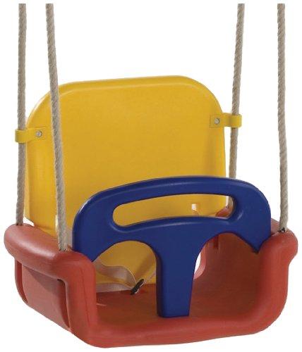 WICKEY Babyschaukel 3 in 1 Babysitz verstellbar und mitwachsend Schaukelsitz (Rot-Gelb-Blau) - 1