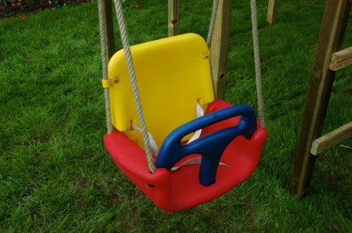 WICKEY Babyschaukel 3 in 1 Babysitz verstellbar und mitwachsend Schaukelsitz (Rot-Gelb-Blau) - 2