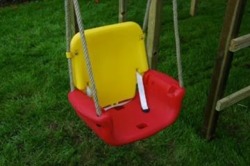 WICKEY Babyschaukel 3 in 1 Babysitz verstellbar und mitwachsend Schaukelsitz (Rot-Gelb-Blau) - 3