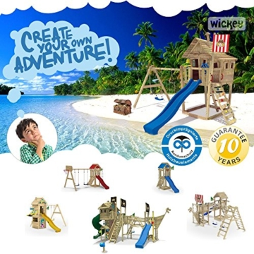 WICKEY FreeFlyer Spielturm Kletterturm mit Rutsche Schaukel Sandkasten + Zubehör-Komplettset (blaue Rutsche / blaue Dachplane) - 2