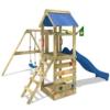 WICKEY FreeFlyer Spielturm Kletterturm mit Rutsche Schaukel Sandkasten + Zubehör-Komplettset (blaue Rutsche / blaue Dachplane) - 1