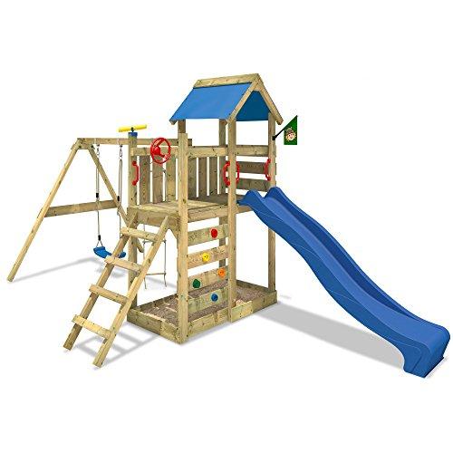 WICKEY MultiFlyer Spielturm Kletterturm mit Rutsche Schaukel Sandkasten + Zubehör-Komplettset (blaue Rutsche / blaue Dachplane) - 1