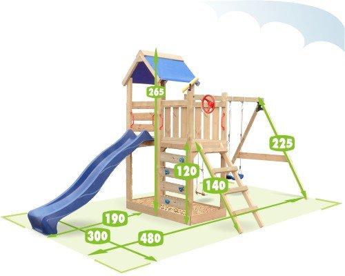 WICKEY MultiFlyer Spielturm Kletterturm mit Rutsche Schaukel Sandkasten + Zubehör-Komplettset (blaue Rutsche / blaue Dachplane) - 2