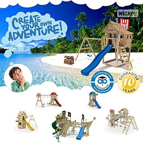 WICKEY MultiFlyer Spielturm Kletterturm mit Rutsche Schaukel Sandkasten + Zubehör-Komplettset (blaue Rutsche / blaue Dachplane) - 3