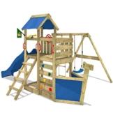 WICKEY Seaflyer Spielturm Rutsche Schaukel Sandkasten (blaue Rutsche / blaue Dachplane) - 1