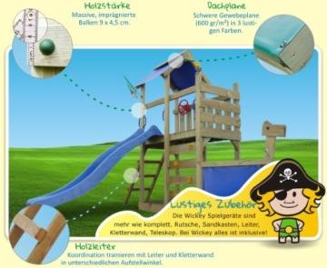 WICKEY Seaflyer Spielturm Rutsche Schaukel Sandkasten (blaue Rutsche / blaue Dachplane) - 3