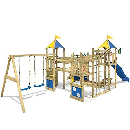 WICKEY Smart King Spielturm Rutsche Schaukel Sandkasten Blaue Rutsche / Blaue und Gelbe Plane - 2