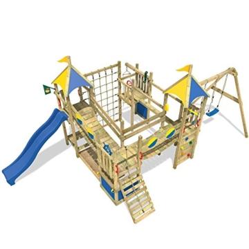 WICKEY Smart King Spielturm Rutsche Schaukel Sandkasten Blaue Rutsche / Blaue und Gelbe Plane - 3
