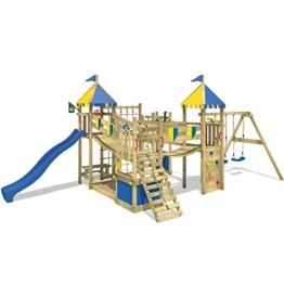 WICKEY Smart King Spielturm Rutsche Schaukel Sandkasten Blaue Rutsche / Blaue und Gelbe Plane - 1