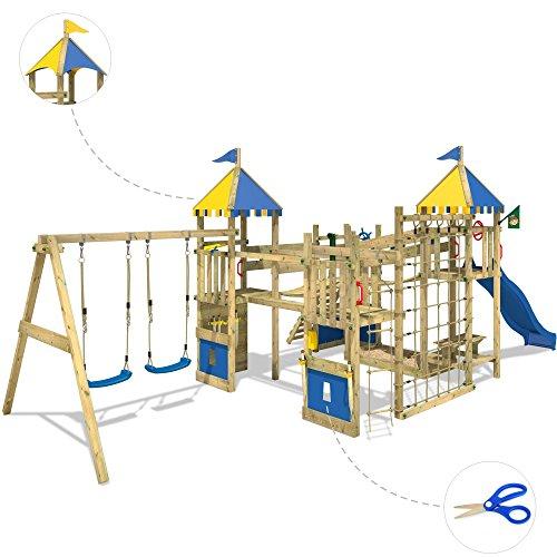 WICKEY Smart King Spielturm Rutsche Schaukel Sandkasten Blaue Rutsche / Blaue und Gelbe Plane - 4