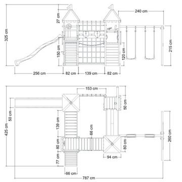 WICKEY Smart King Spielturm Rutsche Schaukel Sandkasten Blaue Rutsche / Blaue und Gelbe Plane - 5