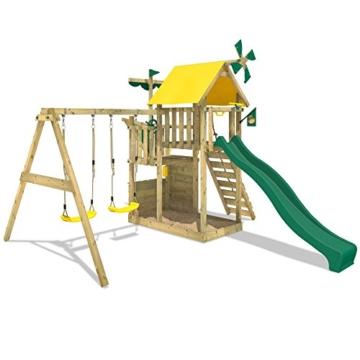WICKEY Smart Sail Spielturm Rutsche Schaukel Sandkasten Grüne Rutsche / Grüne und Gelbe Plane - 2