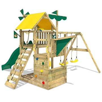 WICKEY Smart Sail Spielturm Rutsche Schaukel Sandkasten Grüne Rutsche / Grüne und Gelbe Plane - 3