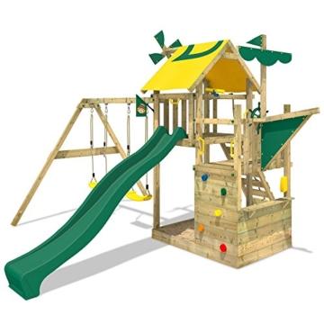 WICKEY Smart Sail Spielturm Rutsche Schaukel Sandkasten Grüne Rutsche / Grüne und Gelbe Plane - 4