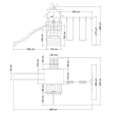 WICKEY Smart Sail Spielturm Rutsche Schaukel Sandkasten Grüne Rutsche / Grüne und Gelbe Plane - 5